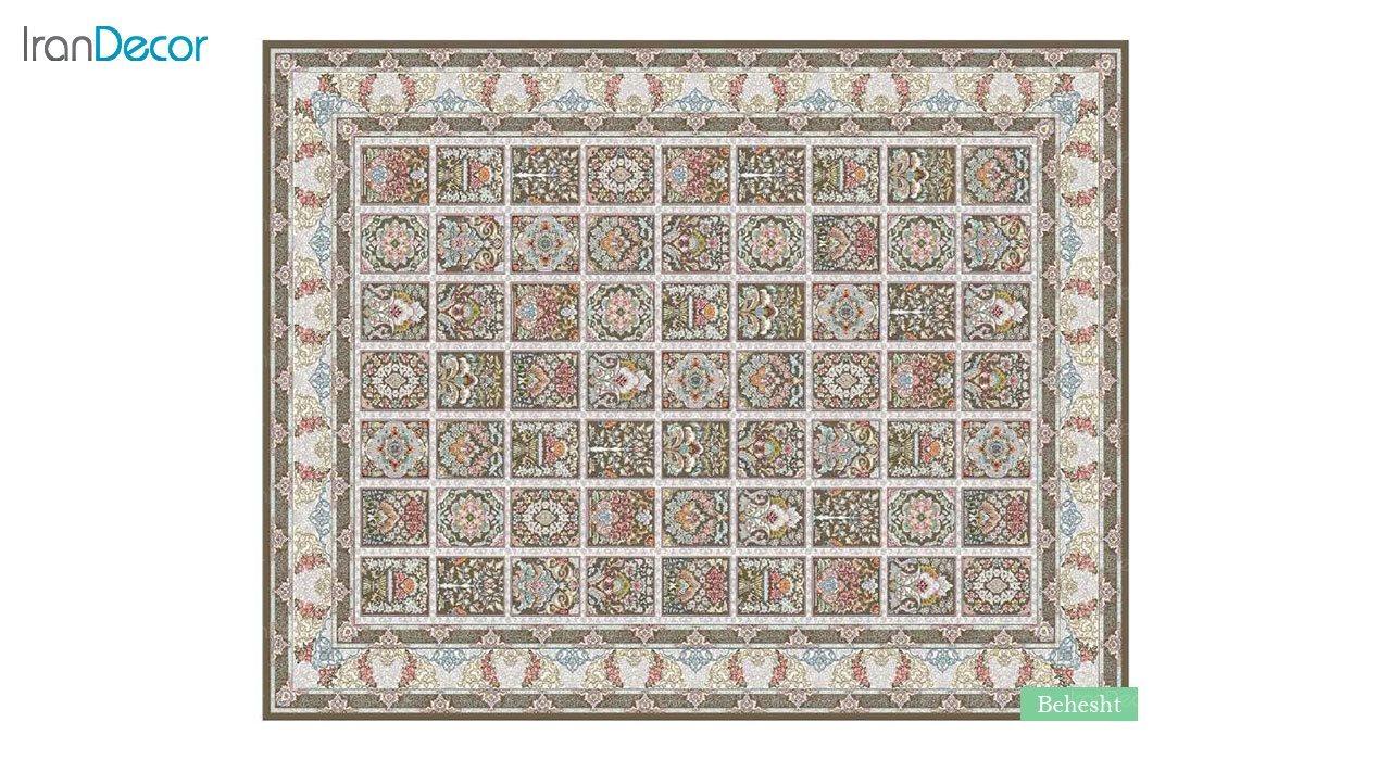 تصویر فرش ماشینی 700 شانه کشمیر طرح بهشت قهوه ای