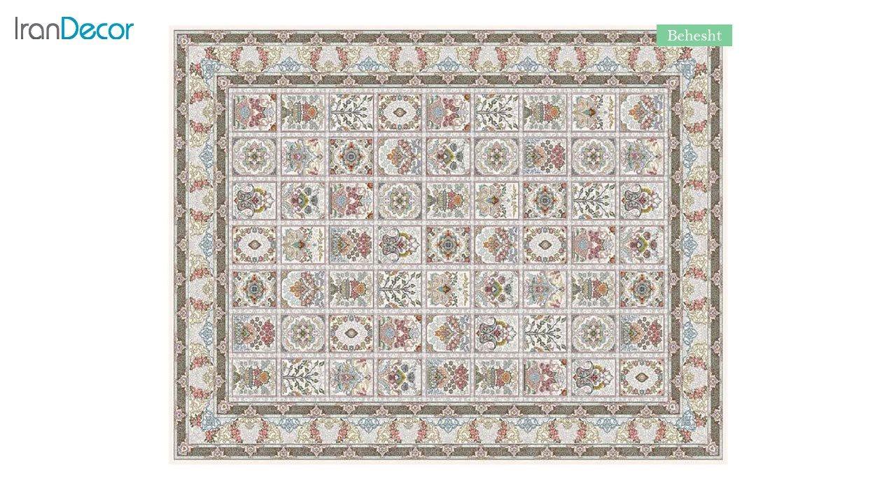 تصویر فرش ماشینی 700 شانه کشمیر طرح بهشت کرم