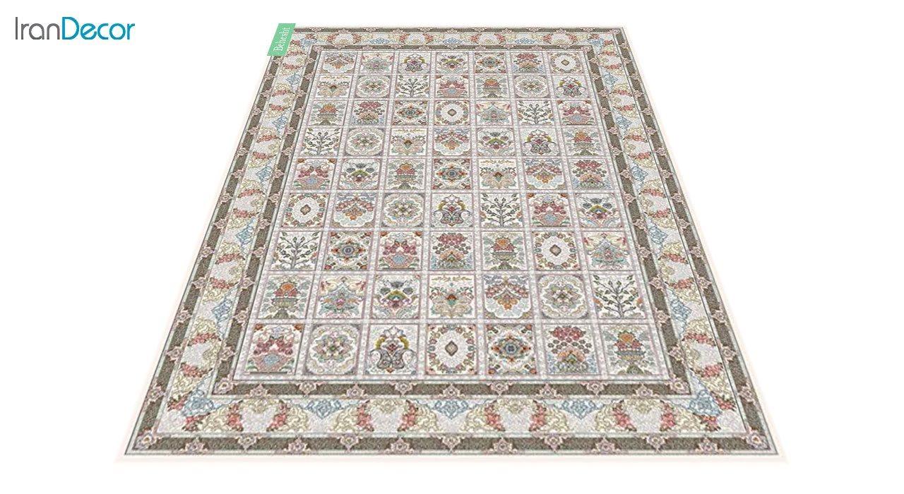 عکس فرش ماشینی 700 شانه کشمیر طرح بهشت کرم