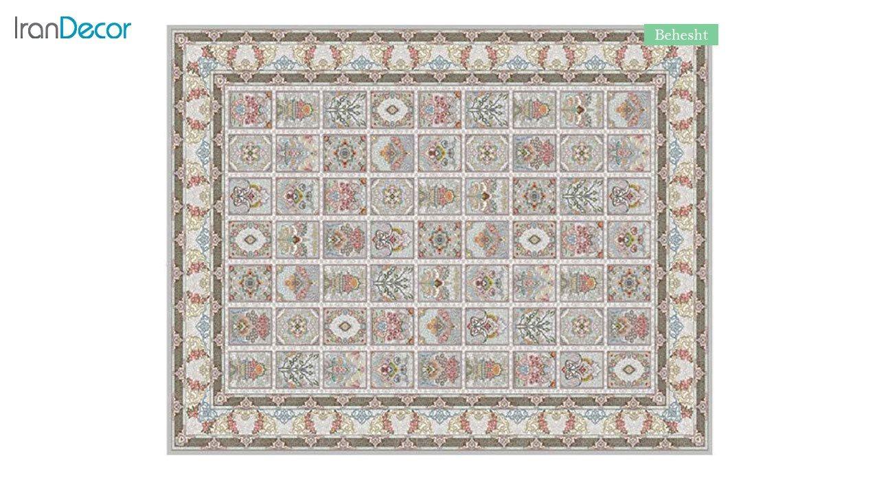 تصویر فرش ماشینی 700 شانه کشمیر طرح بهشت نقره ای