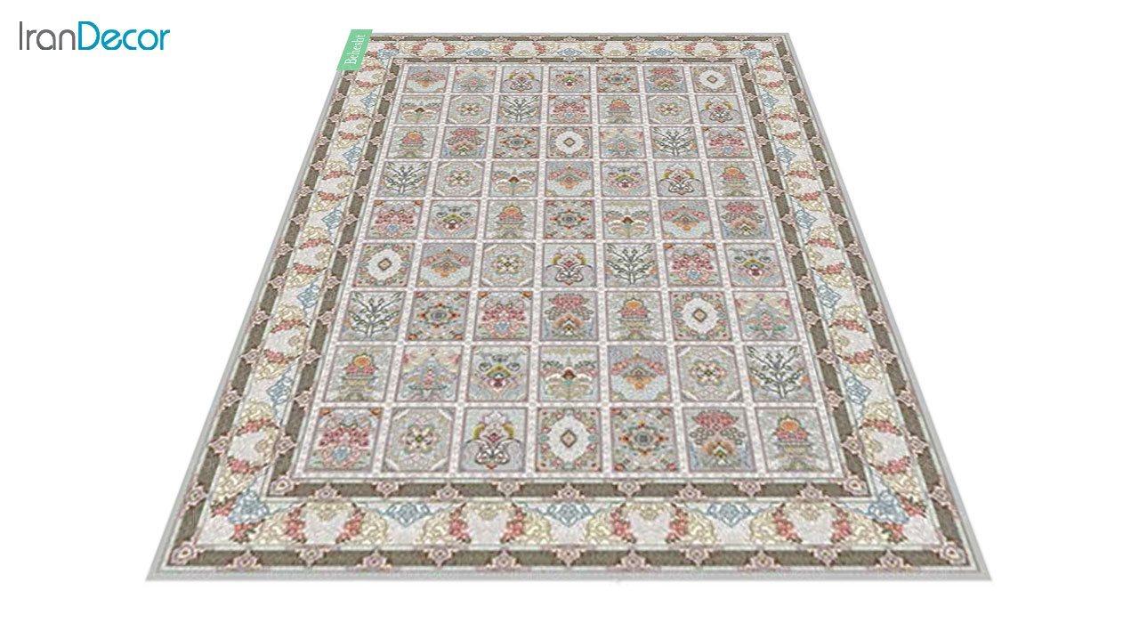 عکس فرش ماشینی 700 شانه کشمیر طرح بهشت نقره ای