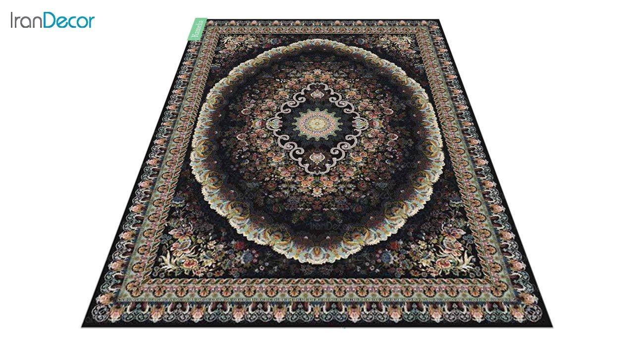 عکس فرش ماشینی 700 شانه کشمیر طرح کاملیا مشکی