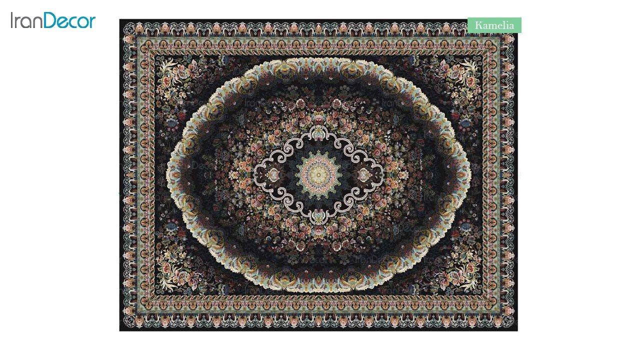 تصویر فرش ماشینی 700 شانه کشمیر طرح کاملیا مشکی
