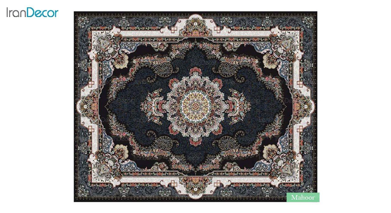 تصویر فرش ماشینی 700 شانه کشمیر طرح ماهور مشکی