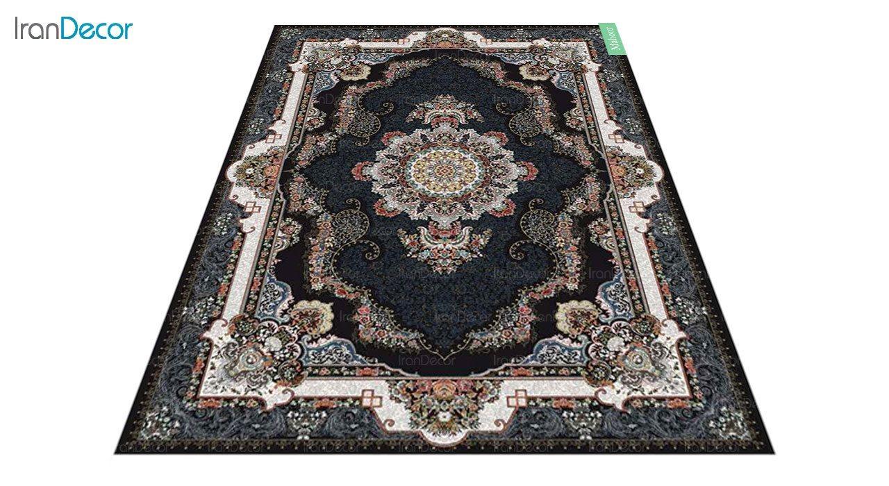 عکس فرش ماشینی 700 شانه کشمیر طرح ماهور مشکی