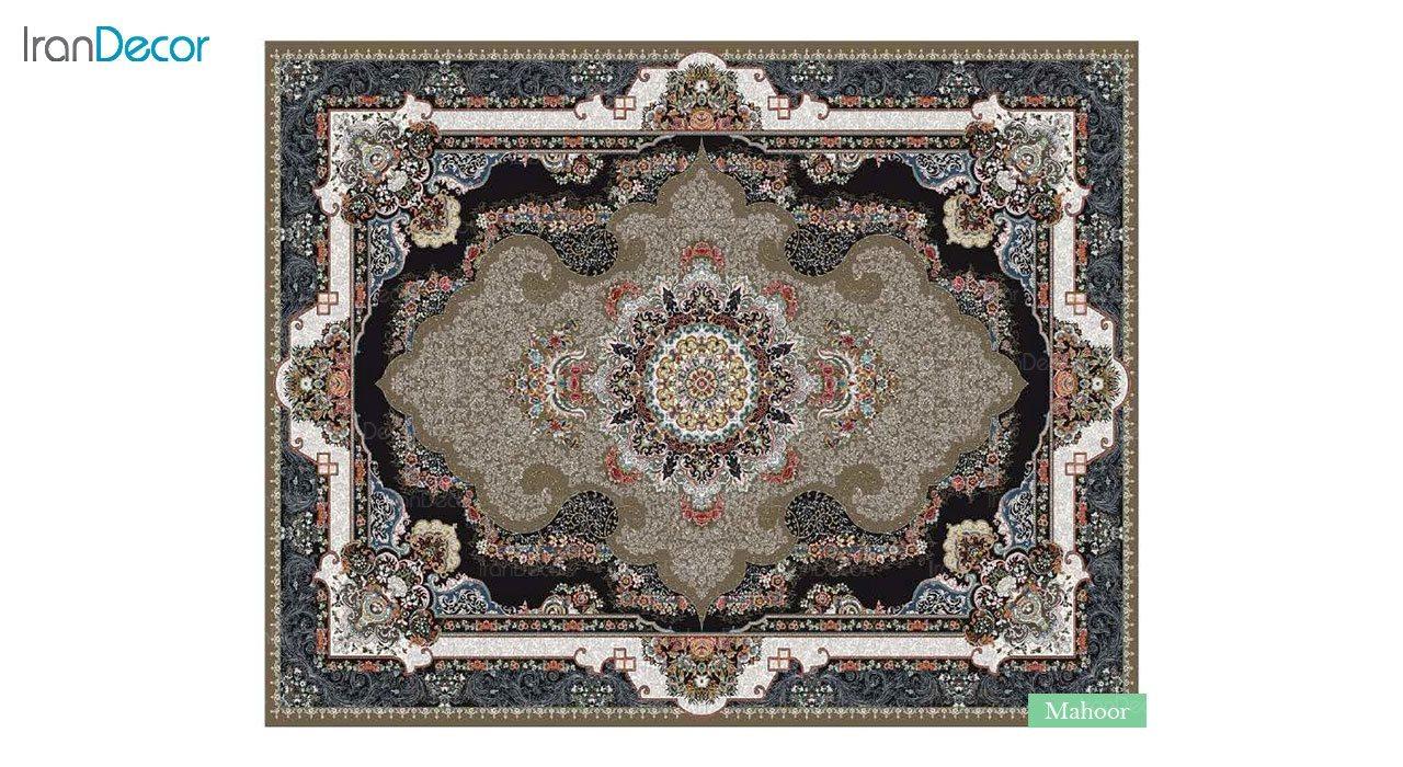 تصویر فرش ماشینی 700 شانه کشمیر طرح ماهور قهوه ای