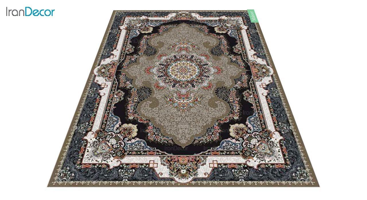 عکس فرش ماشینی 700 شانه کشمیر طرح ماهور قهوه ای
