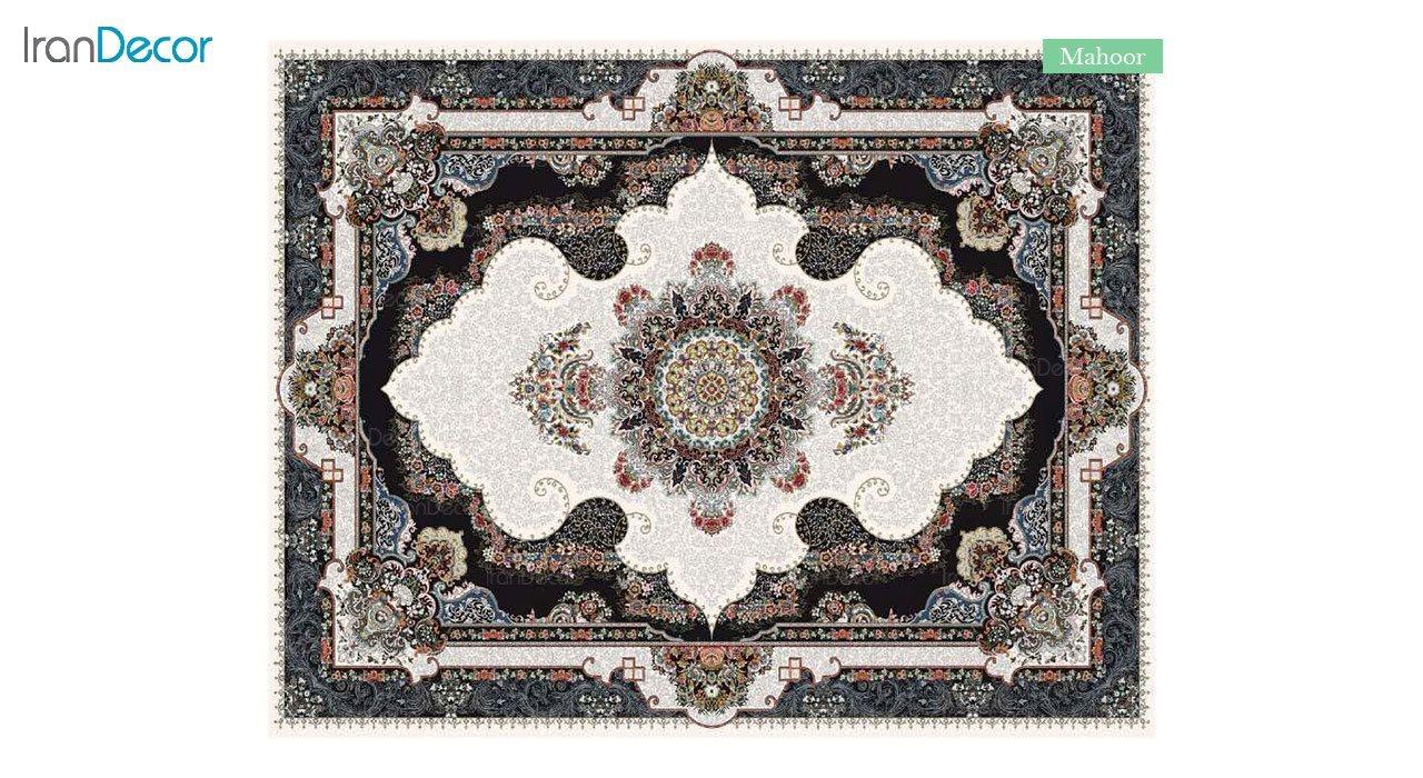 تصویر فرش ماشینی 700 شانه کشمیر طرح ماهور کرم
