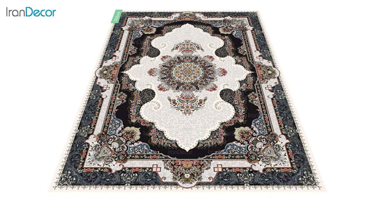 عکس فرش ماشینی 700 شانه کشمیر طرح ماهور کرم
