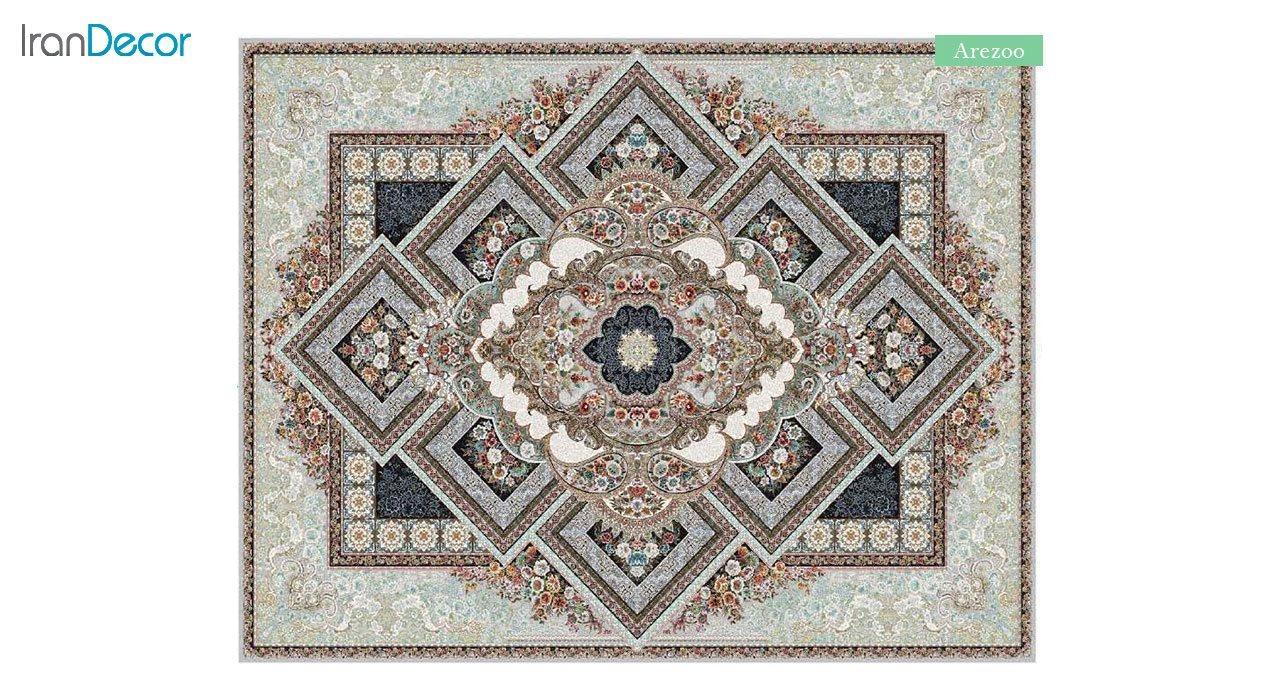 تصویر فرش ماشینی 700 شانه کشمیر طرح آرزو نقره ای