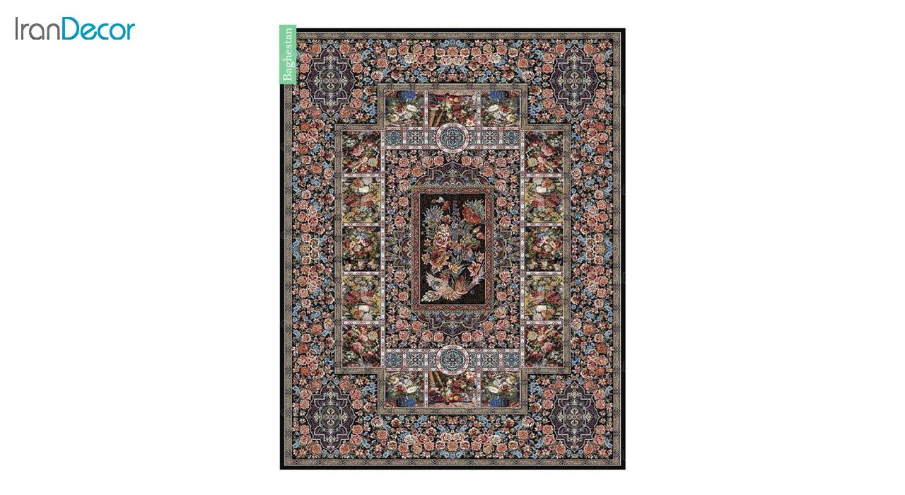 تصویر فرش ماشینی 700 شانه کشمیر طرح باغستان مشکی