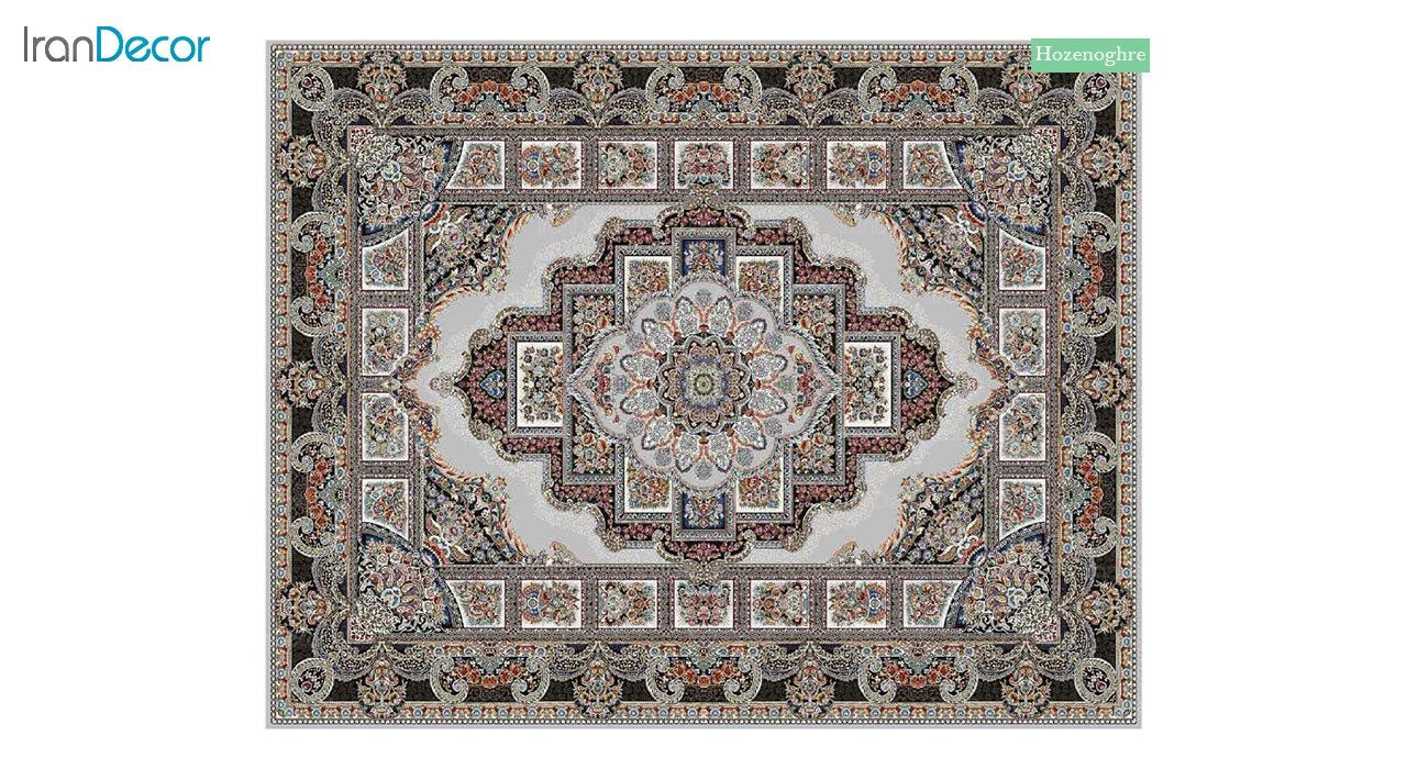 تصویر فرش ماشینی 700 شانه کشمیر طرح حوض نقره نقره ای