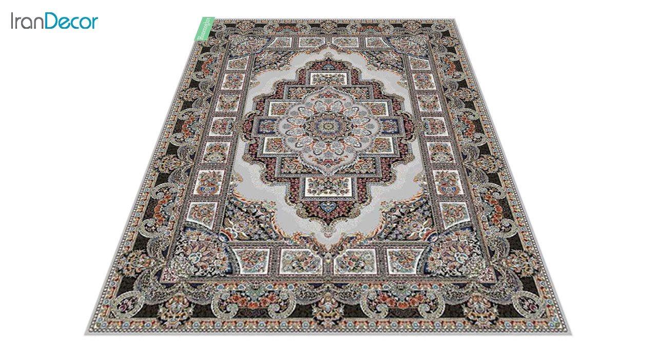 عکس فرش ماشینی 700 شانه کشمیر طرح حوض نقره نقره ای