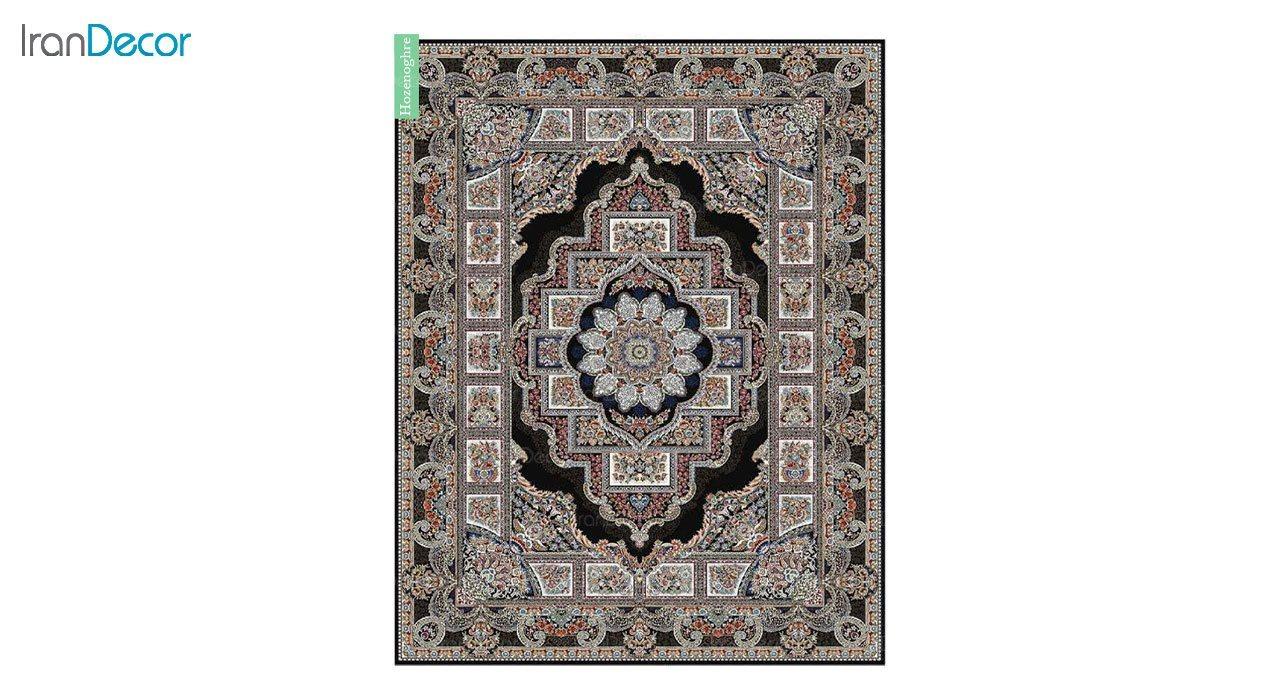 تصویر فرش ماشینی 700 شانه کشمیر طرح حوض نقره مشکی