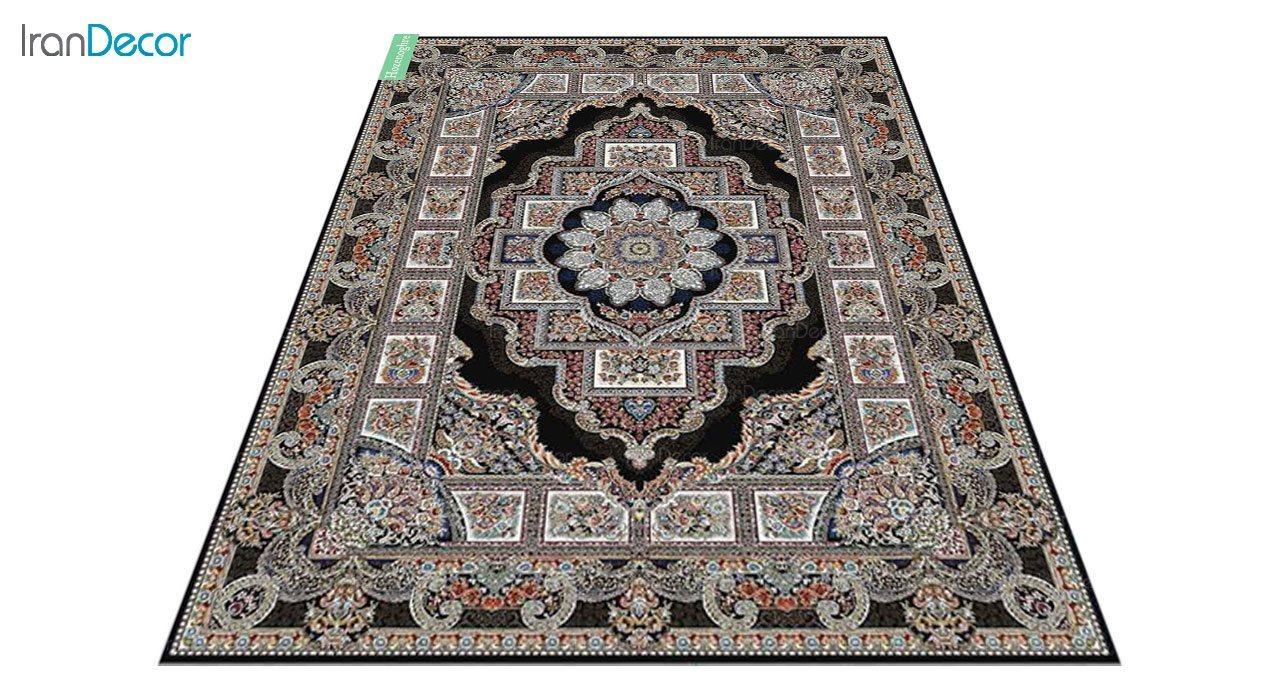 عکس فرش ماشینی 700 شانه کشمیر طرح حوض نقره مشکی