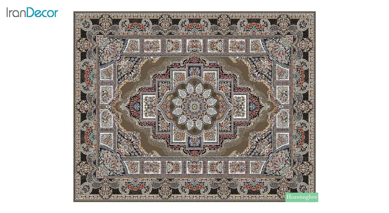 تصویر فرش ماشینی 700 شانه کشمیر طرح حوض نقره قهوه ای
