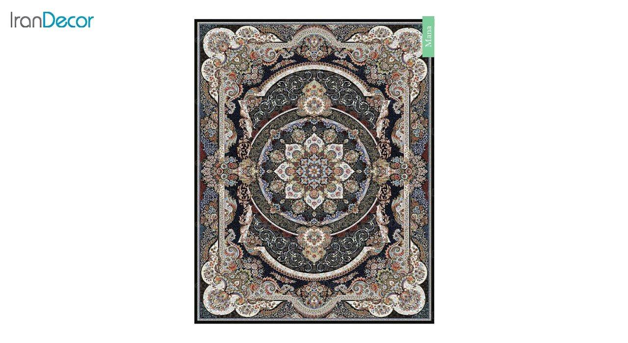 تصویر فرش ماشینی 700 شانه کشمیر طرح مانا مشکی