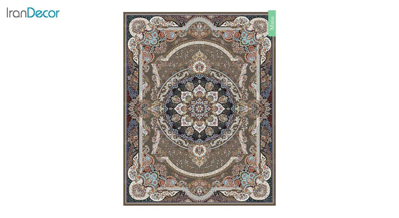 تصویر فرش ماشینی 700 شانه کشمیر طرح مانا قهوه ای