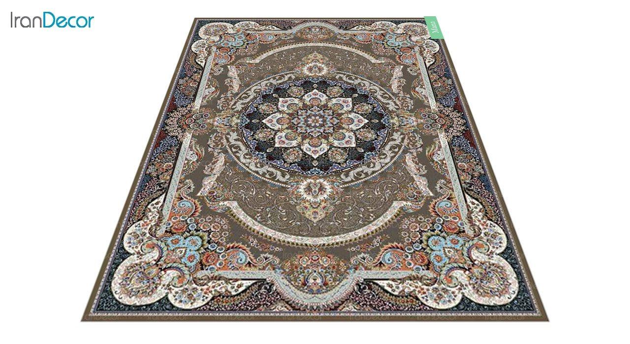 عکس فرش ماشینی 700 شانه کشمیر طرح مانا قهوه ای
