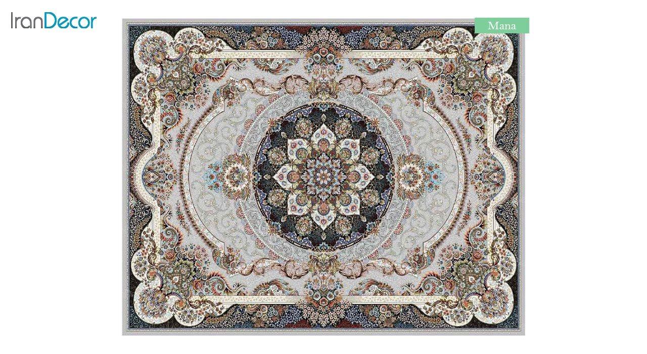 تصویر فرش ماشینی 700 شانه کشمیر طرح مانا نقره ای