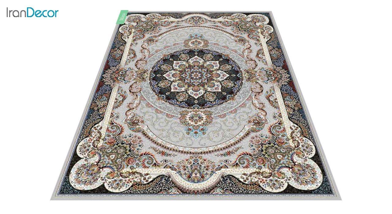 عکس فرش ماشینی 700 شانه کشمیر طرح مانا نقره ای