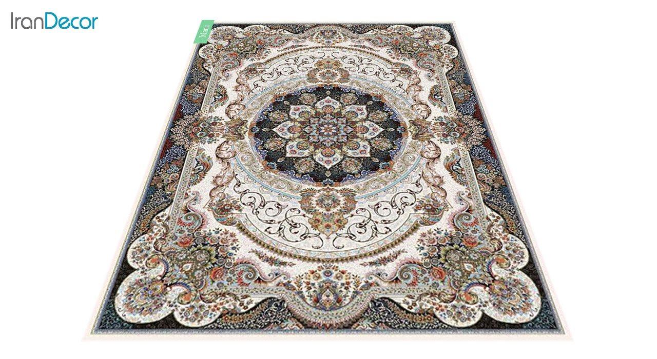 عکس فرش ماشینی 700 شانه کشمیر طرح مانا کرم