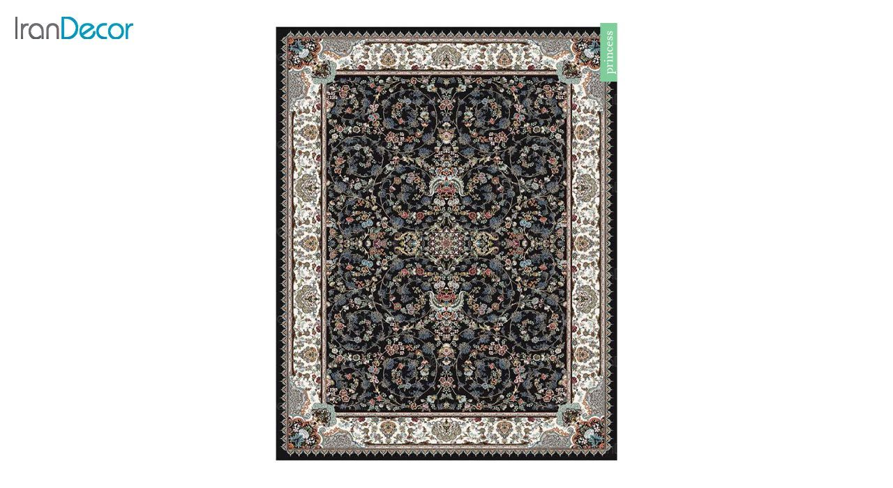 تصویر فرش ماشینی 700 شانه کشمیر طرح پرنسس مشکی