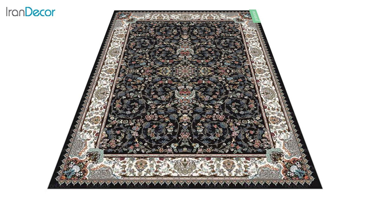 عکس فرش ماشینی 700 شانه کشمیر طرح پرنسس مشکی