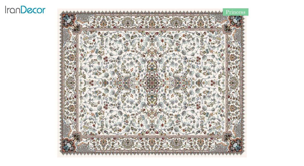 تصویر فرش ماشینی 700 شانه کشمیر طرح پرنسس کرم