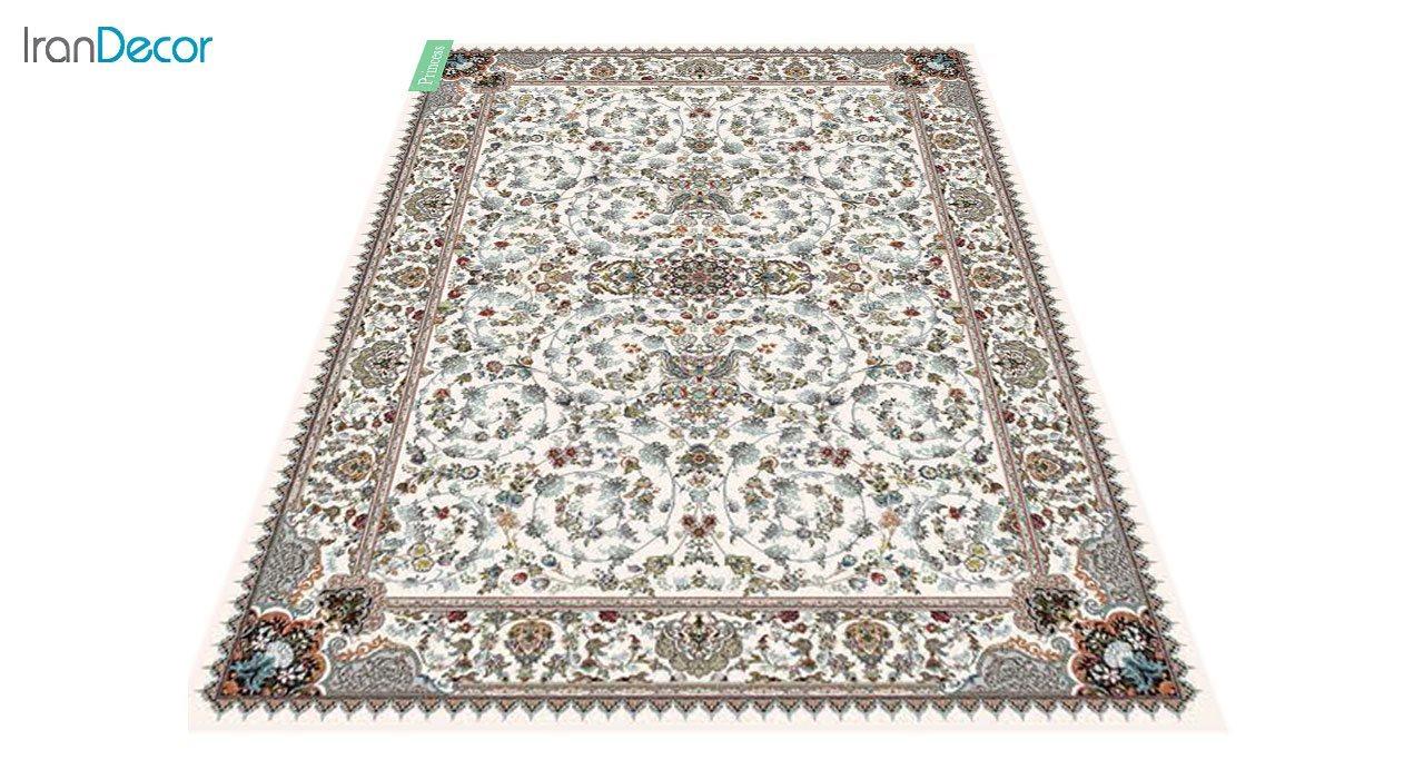 عکس فرش ماشینی 700 شانه کشمیر طرح پرنسس کرم