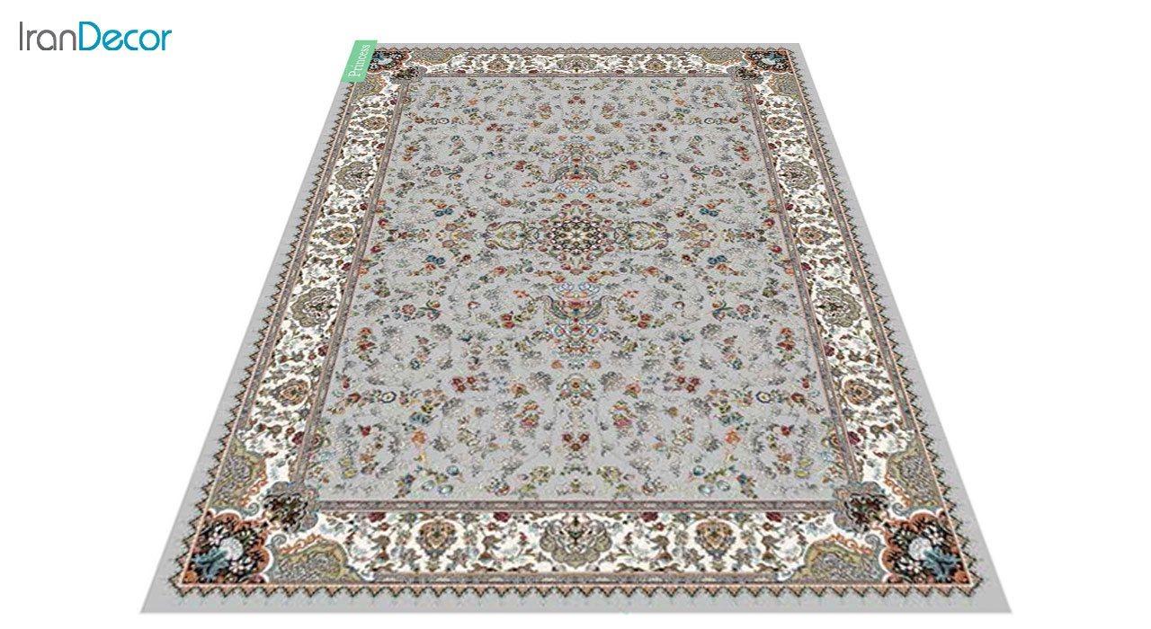 عکس فرش ماشینی 700 شانه کشمیر طرح پرنسس نقره ای