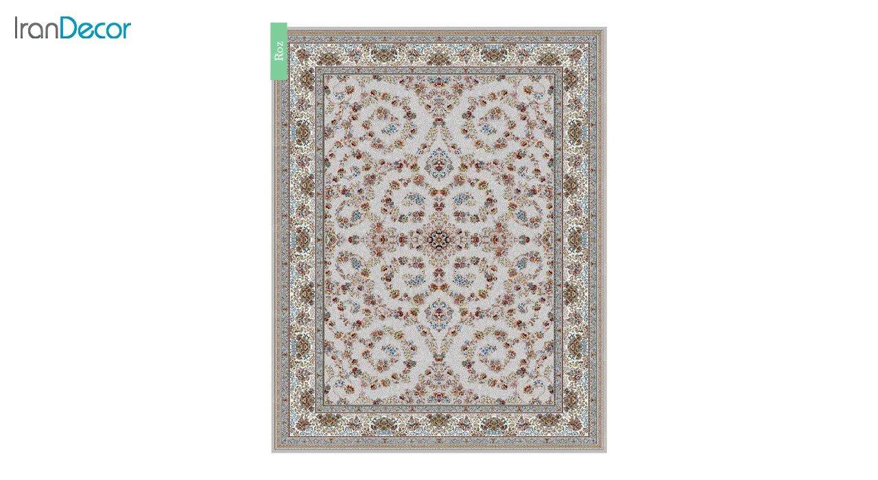 تصویر فرش ماشینی 700 شانه کشمیر طرح رز نقره ای