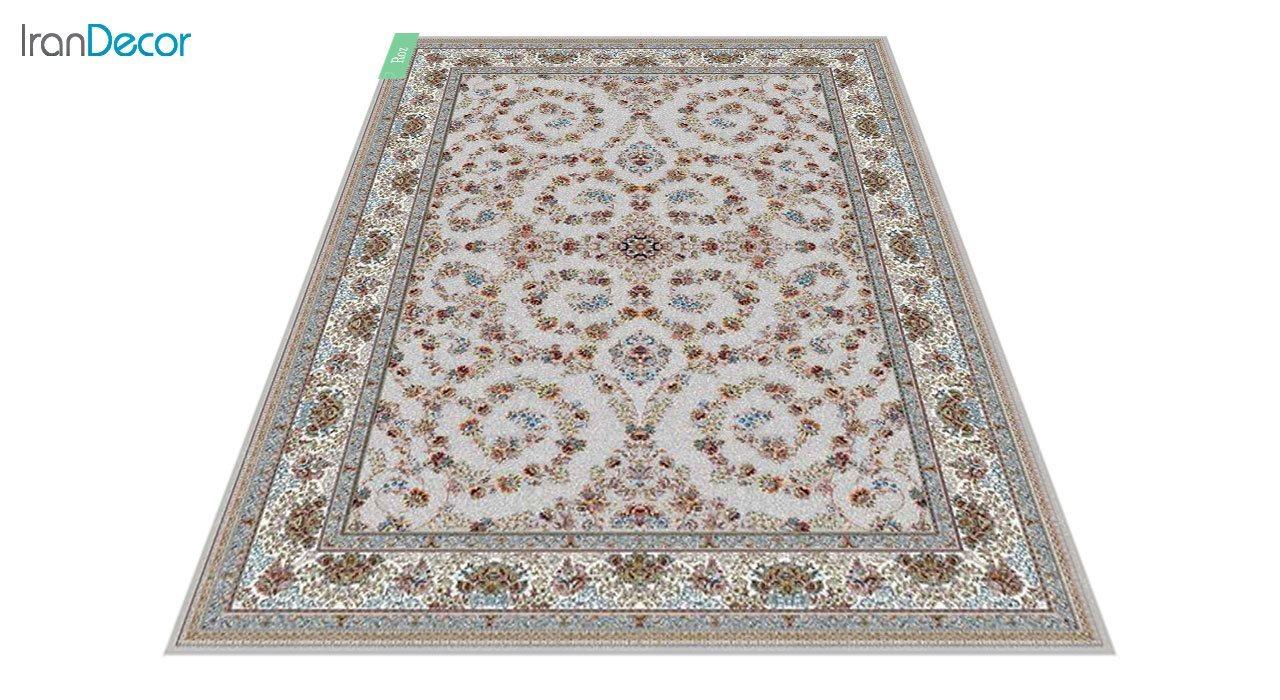 عکس فرش ماشینی 700 شانه کشمیر طرح رز نقره ای