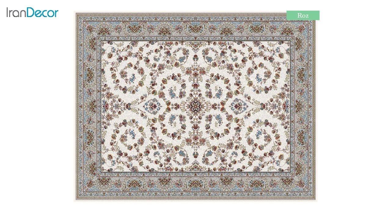 تصویر فرش ماشینی 700 شانه کشمیر طرح رز کرم