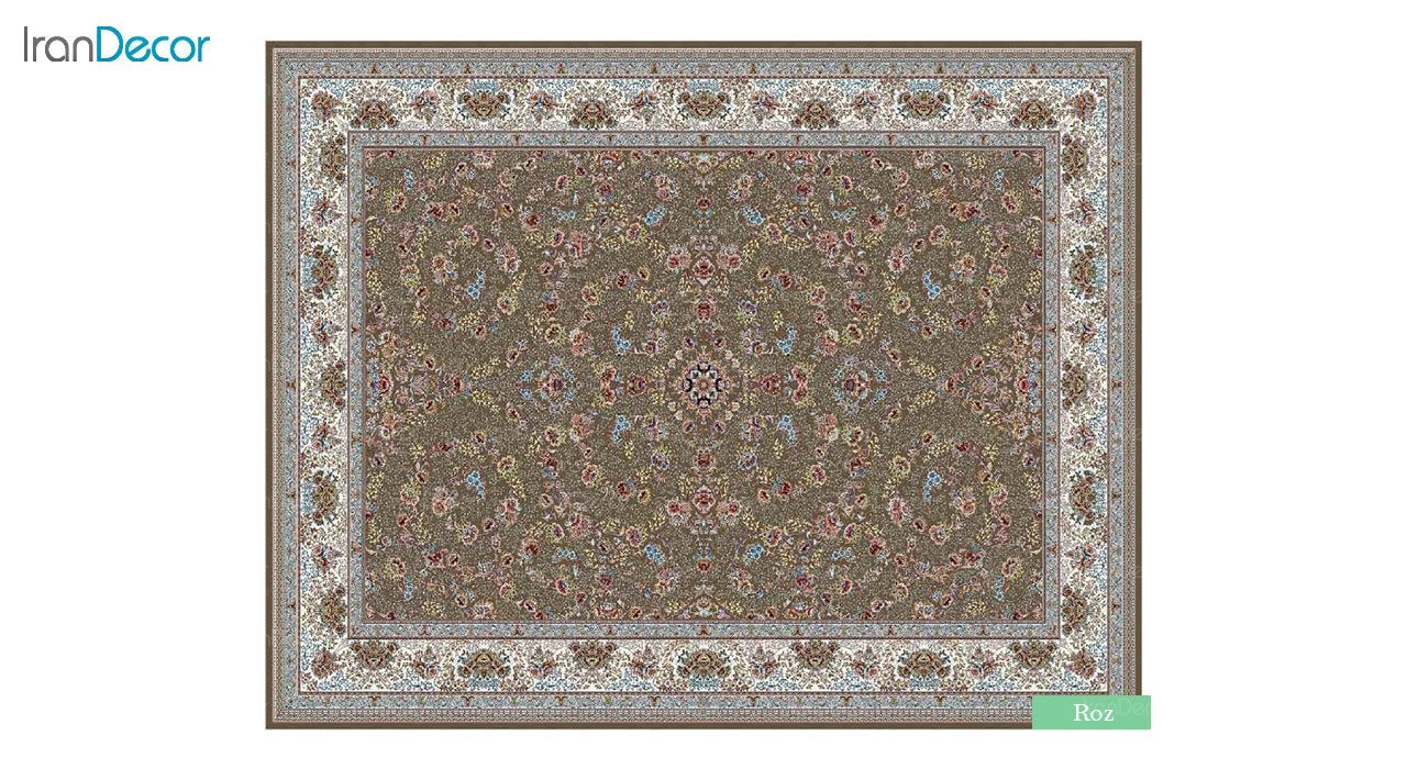 تصویر فرش ماشینی 700 شانه کشمیر طرح رز قهوه ای