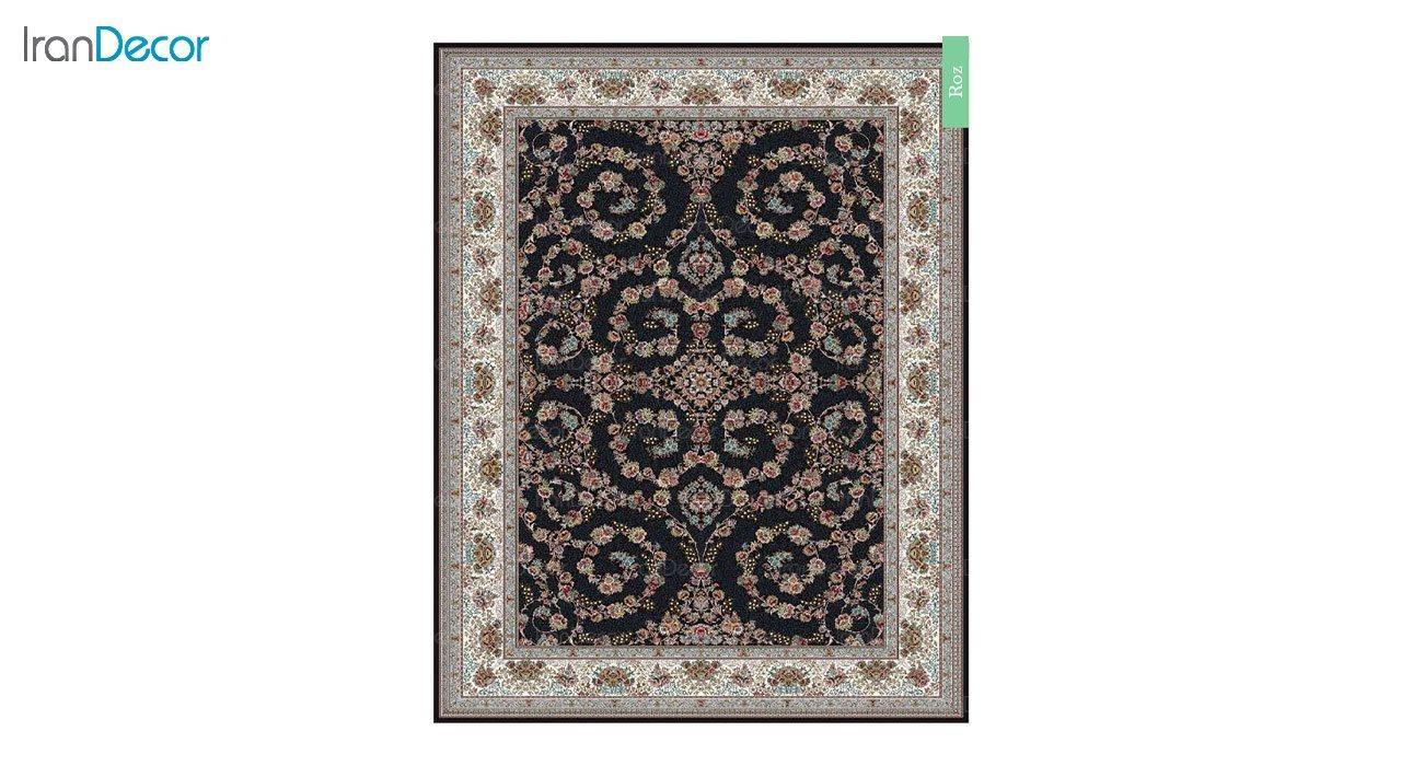 تصویر فرش ماشینی 700 شانه کشمیر طرح رز مشکی