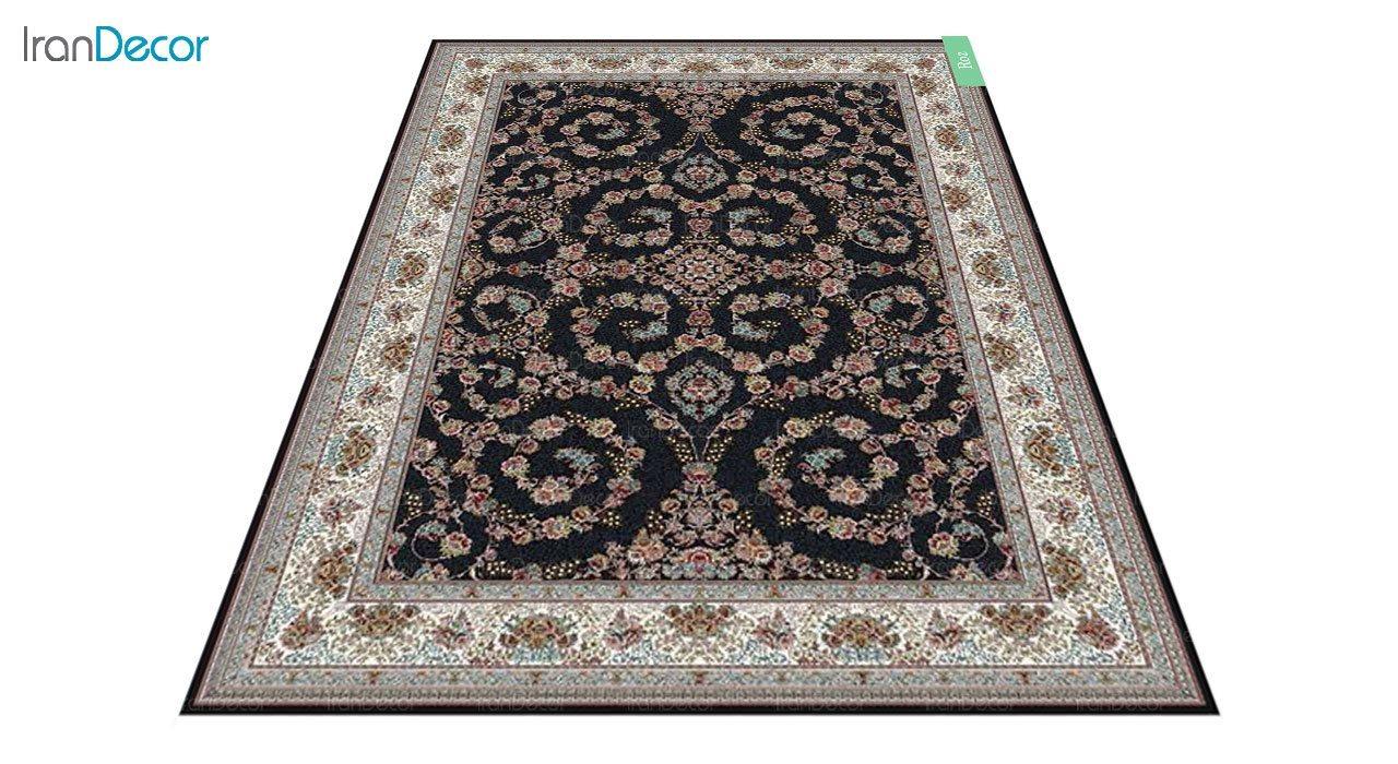 عکس فرش ماشینی 700 شانه کشمیر طرح رز مشکی