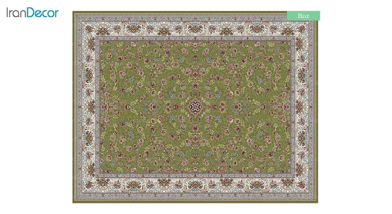 تصویر فرش ماشینی 700 شانه کشمیر طرح رز سبز