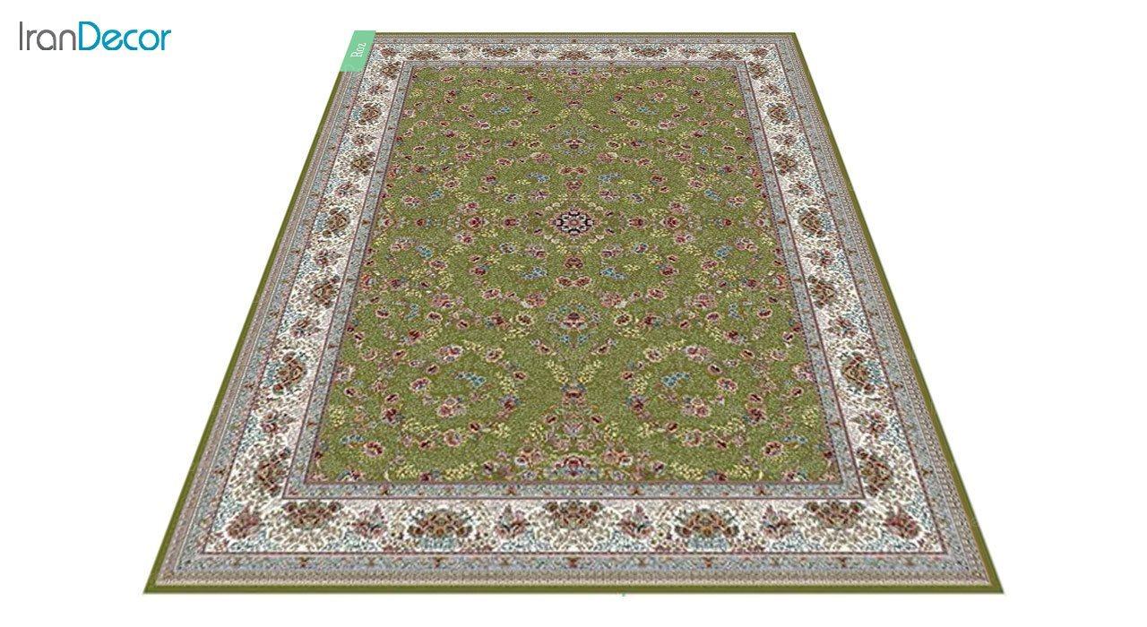 عکس فرش ماشینی 700 شانه کشمیر طرح رز سبز