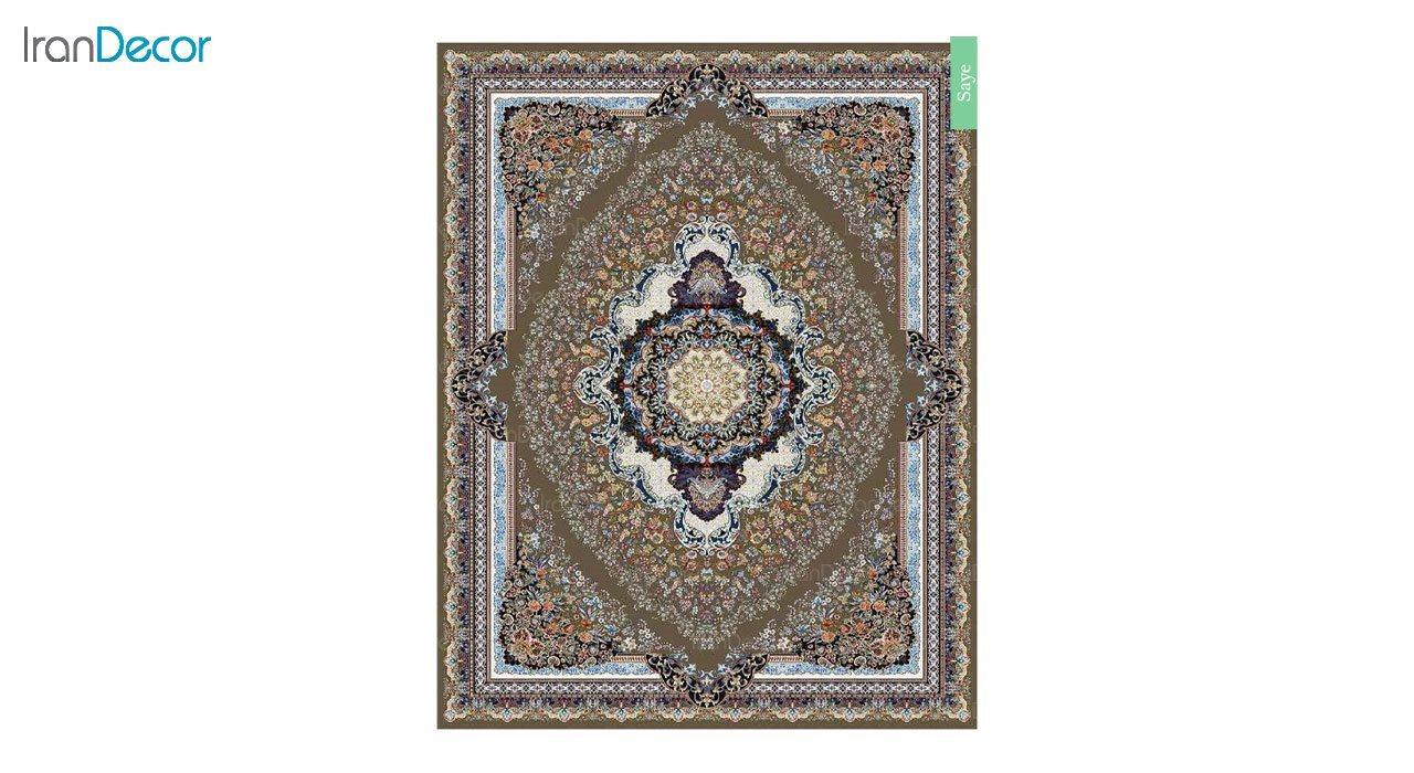 تصویر فرش ماشینی 700 شانه کشمیر طرح سایه قهوه ای
