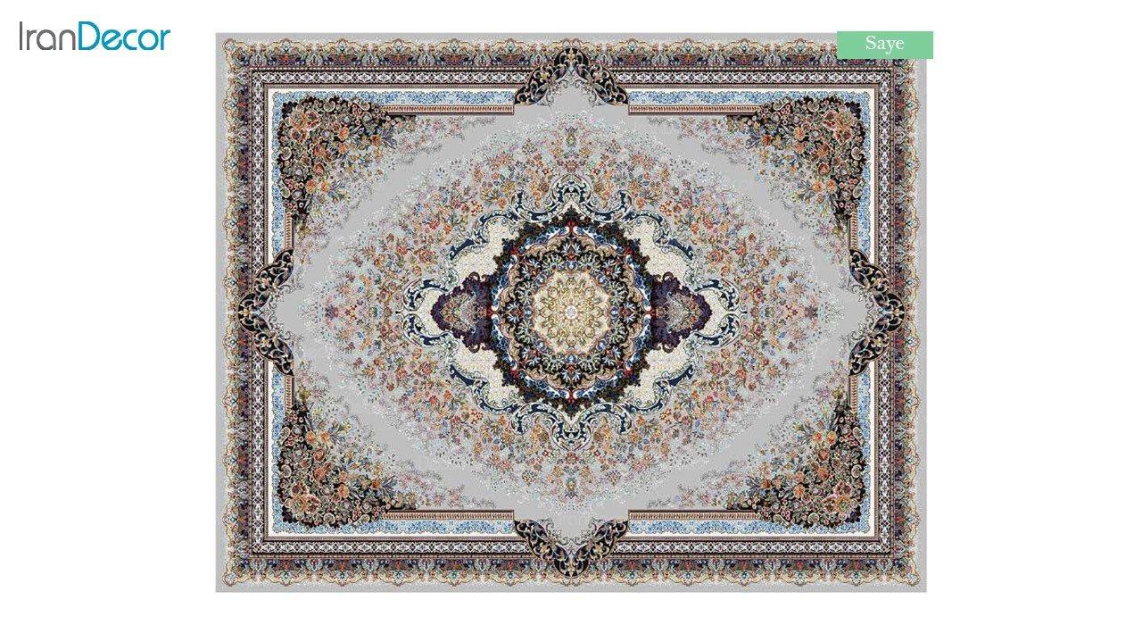 تصویر فرش ماشینی 700 شانه کشمیر طرح سایه نقره ای