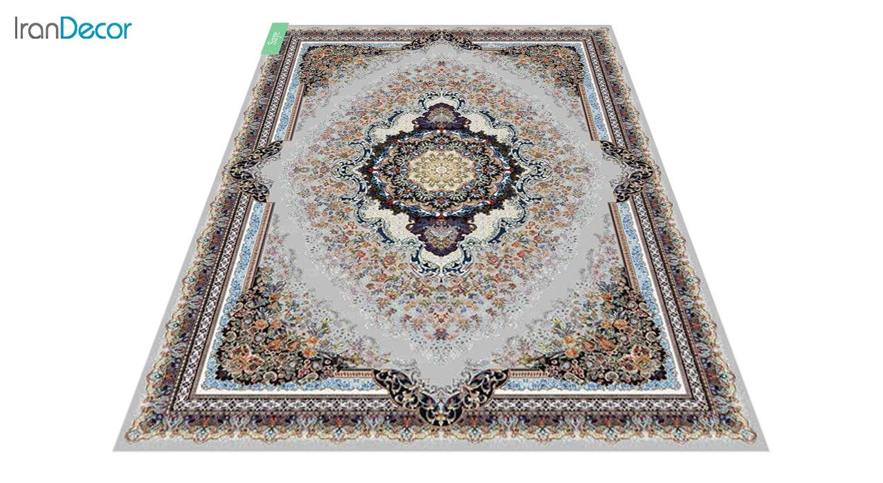 عکس فرش ماشینی 700 شانه کشمیر طرح سایه نقره ای