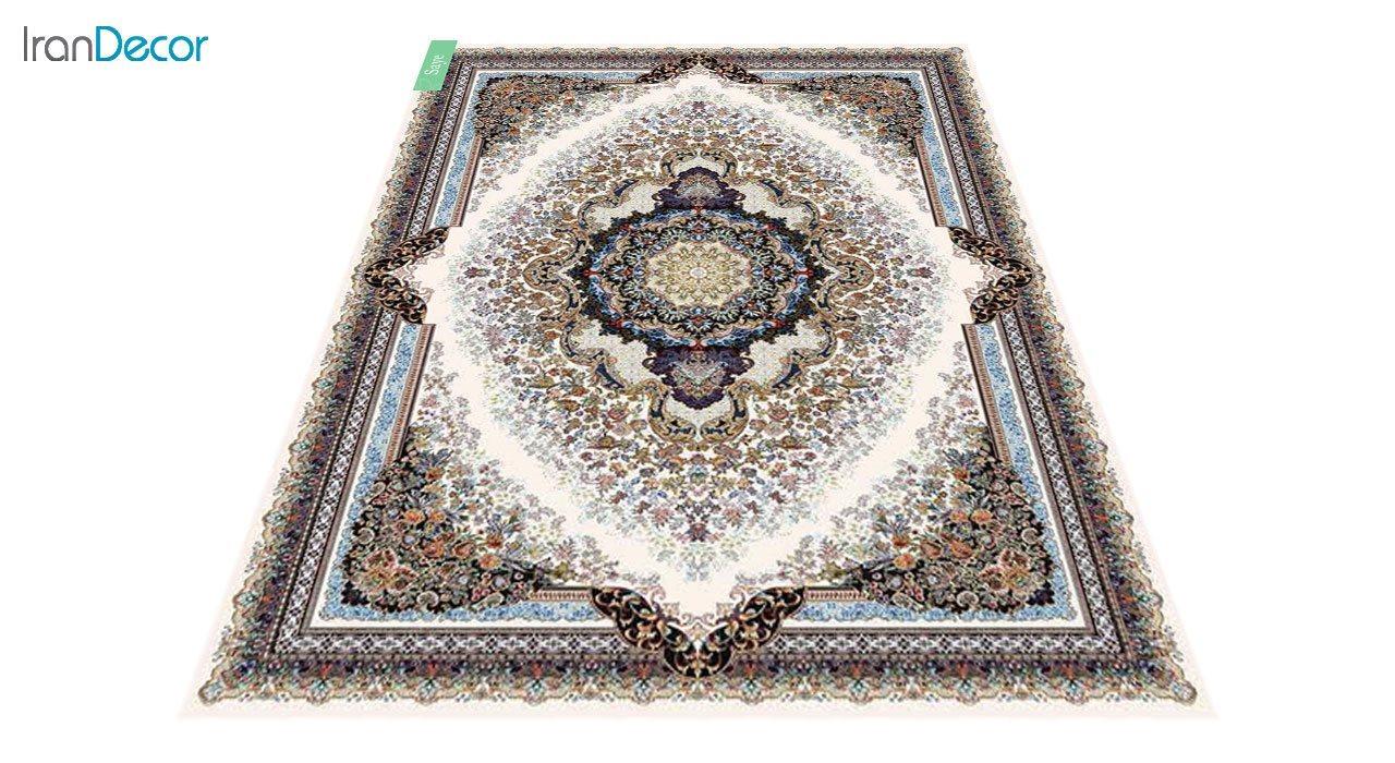 عکس فرش ماشینی 700 شانه کشمیر طرح سایه کرم