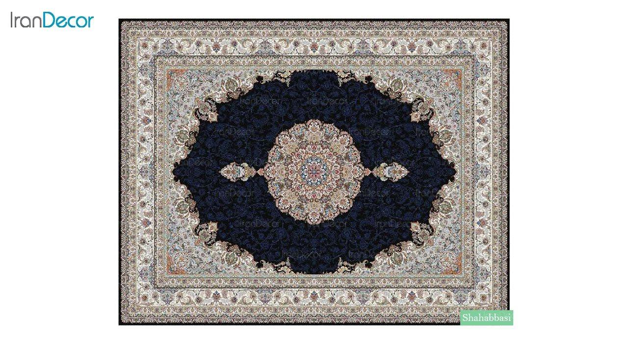 تصویر فرش ماشینی 700 شانه کشمیر طرح شاه عباسی مشکی