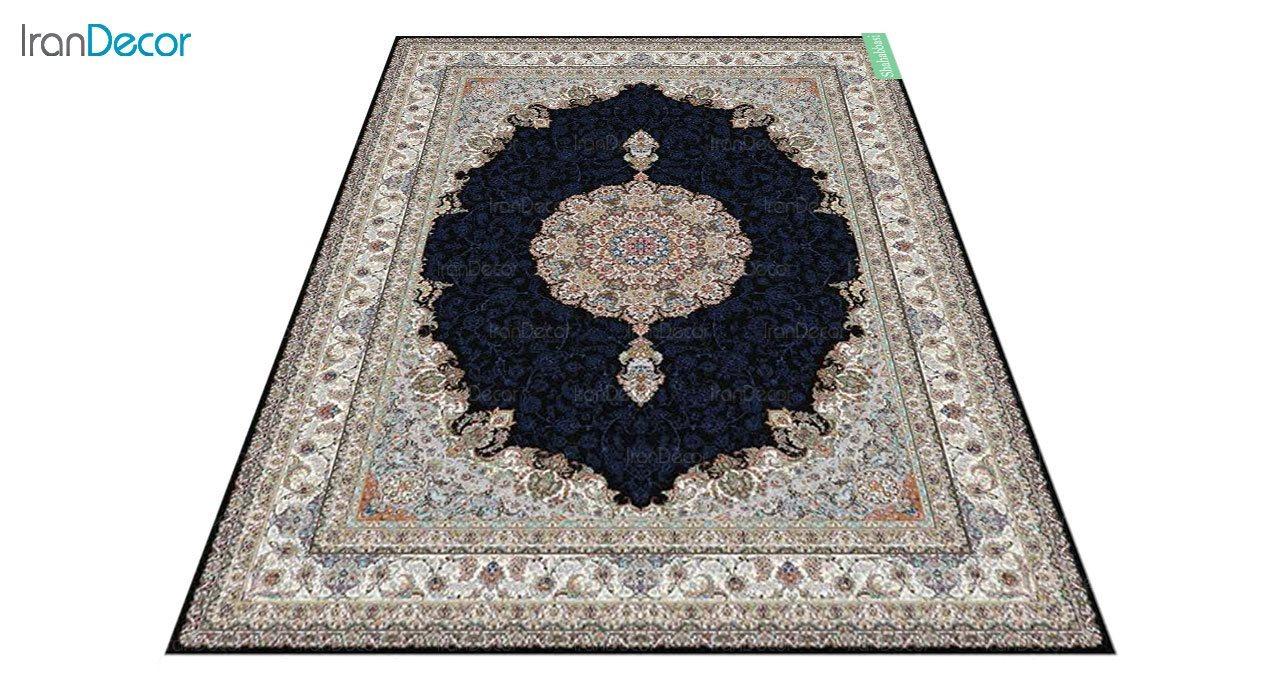 عکس فرش ماشینی 700 شانه کشمیر طرح شاه عباسی مشکی