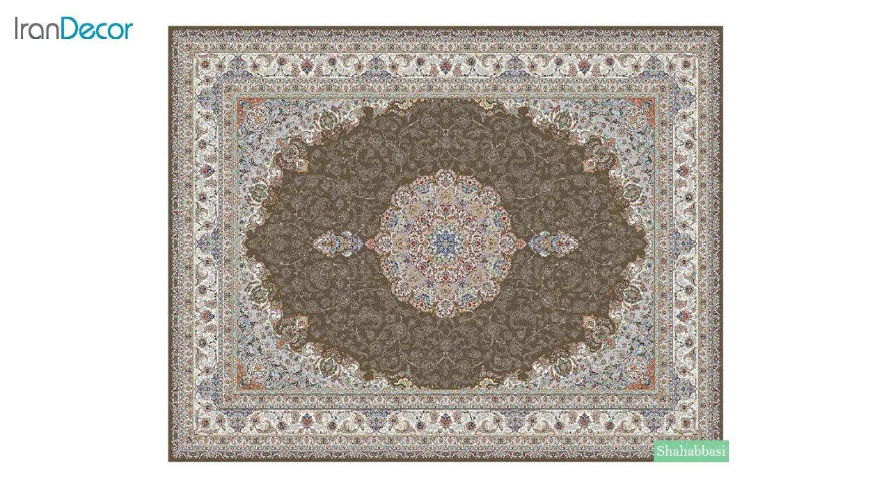 تصویر فرش ماشینی 700 شانه کشمیر طرح شاه عباسی قهوه ای