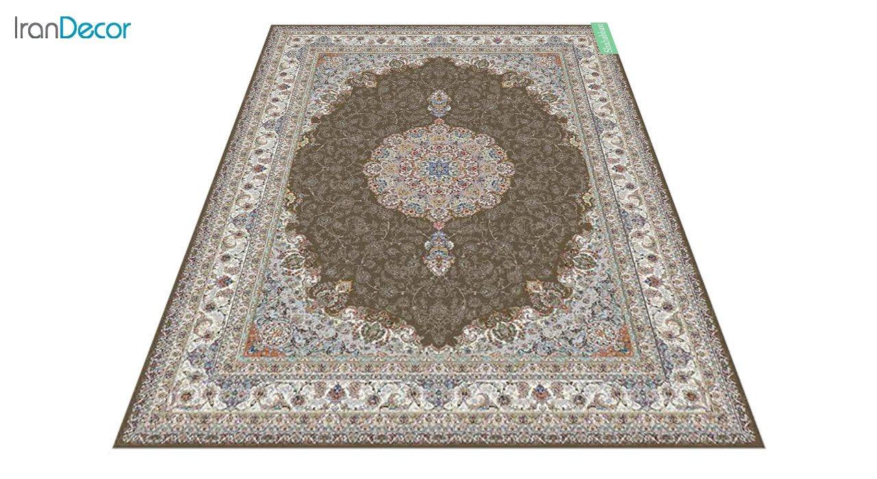 عکس فرش ماشینی 700 شانه کشمیر طرح شاه عباسی قهوه ای