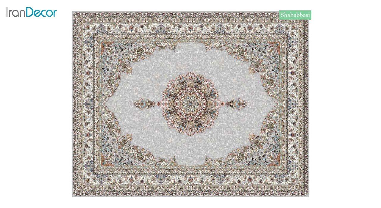 تصویر فرش ماشینی 700 شانه کشمیر طرح شاه عباسی نقره ای