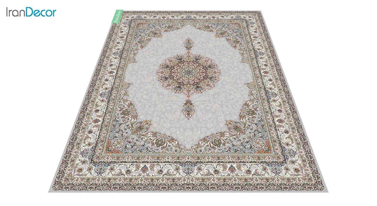 عکس فرش ماشینی 700 شانه کشمیر طرح شاه عباسی نقره ای