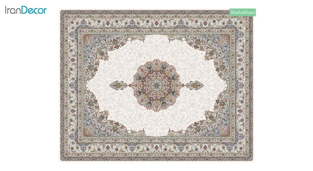 تصویر فرش ماشینی 700 شانه کشمیر طرح شاه عباسی کرم